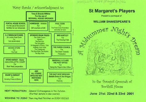 Programme for St Margaret's Players open-air production of 'A Midsummer Night's Dream' 2001
