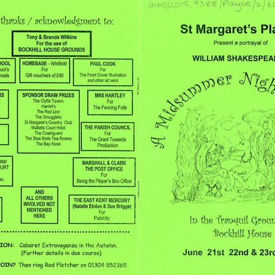 Programme for the St. Margaret's Players open-air production of 'A Midsummer Night's Dream' 2001