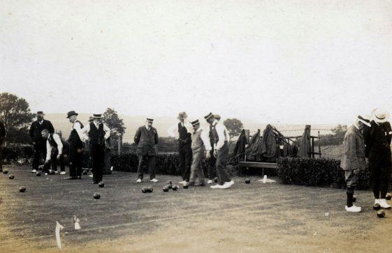 Men's bowling match. c1914