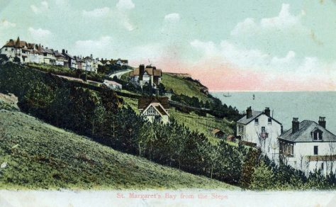 Postcard with the view looking eastward along the cliffs above the Bay, sent to Mr W Newman. postmarked 24 November 1909