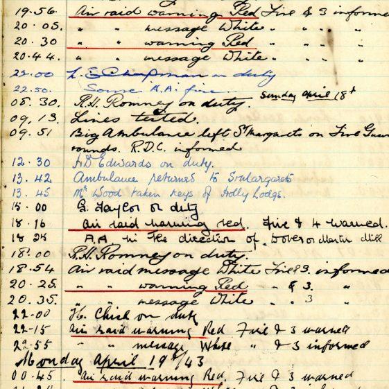 St Margaret's ARP (Air Raid Precautions) Log. Volume 7. 15 February 1943 - 25 October 1943. Pages 33-44