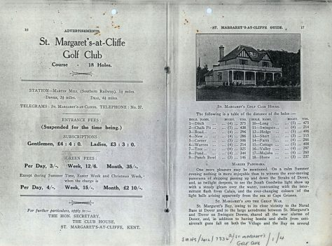 St Margaret's-at-Cliffe Guide, advertising the Golf Club. c.1930