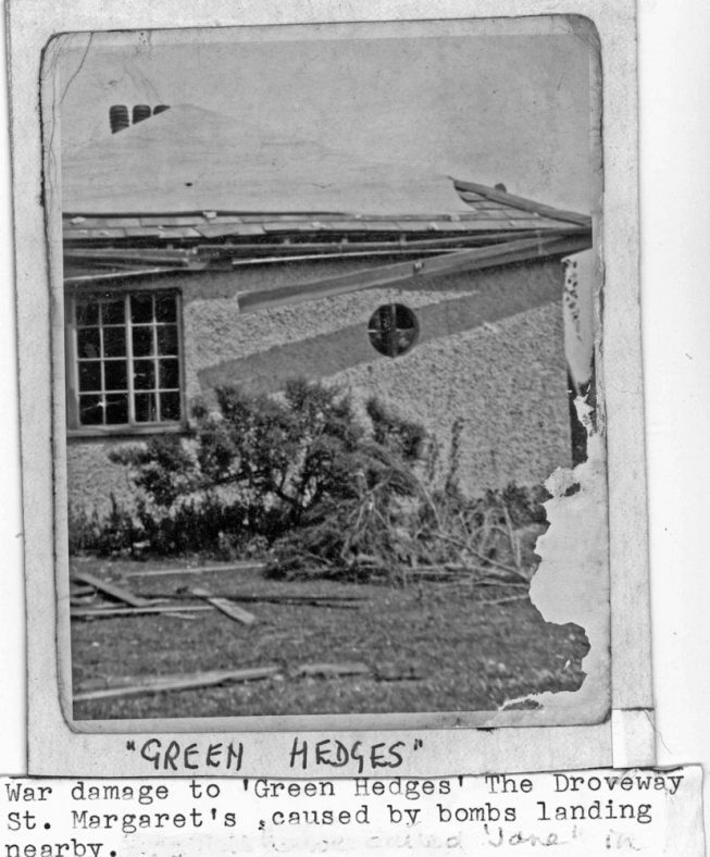 Green Hedges, The Droveway, showing WW2 bomb damage