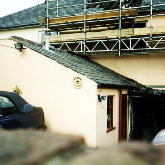 Fireside Cottage, High Street and the results of a fire in April 2005.