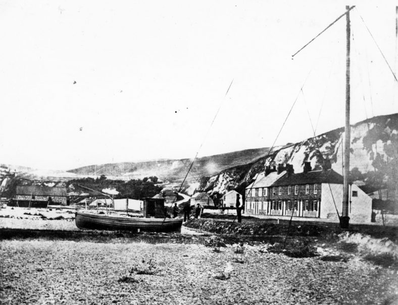 Coastguard Cottages and the Atkins family, St Margaret's Bay. c1865