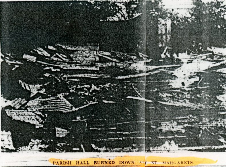 Report of the fire that destroyed the Parish Hall. 1909