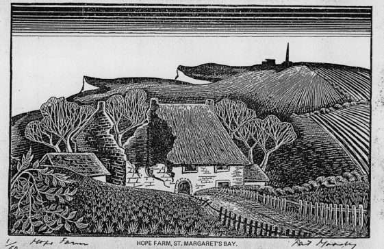 A woodcut by Pat Moody showing the damage to Hope Farm