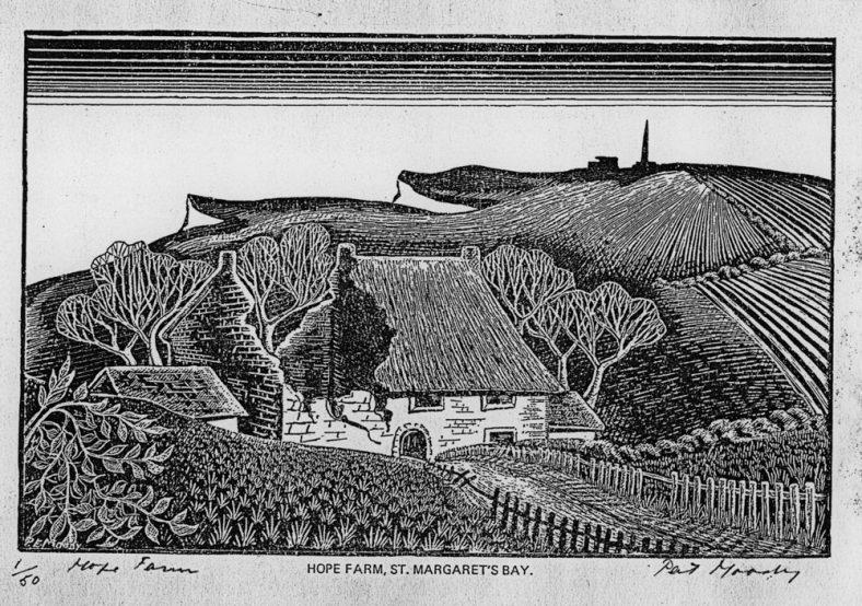 Woodcut of Hope Farm by Pat Moody