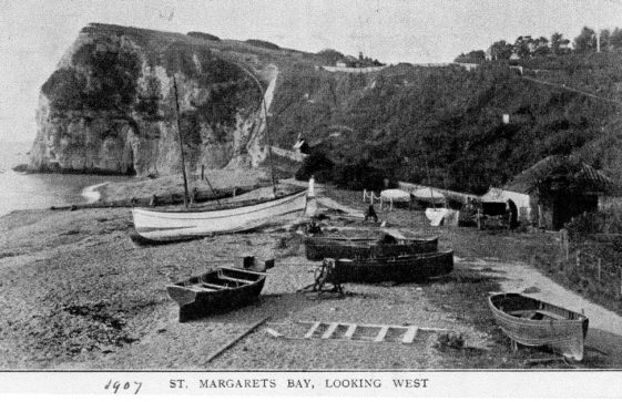Boats on St Margaret's Bay beach. 1907