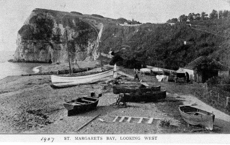 Boats on St Margaret's Bay beach. 1907