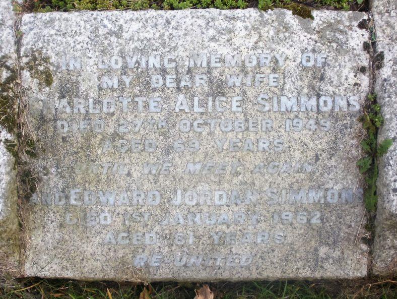 Gravestone of SIMMONS Charlotte Alice 1949; SIMMONS Edward Jordan 1962 | Dawn Sedgwick