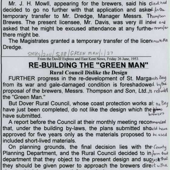 The Green Man various press cuttings 1937 - 2008