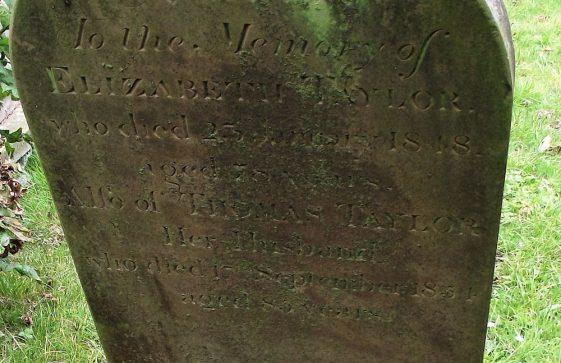 Gravestone of TAYLOR Elizabeth 1848; TAYLOR Thomas 1854