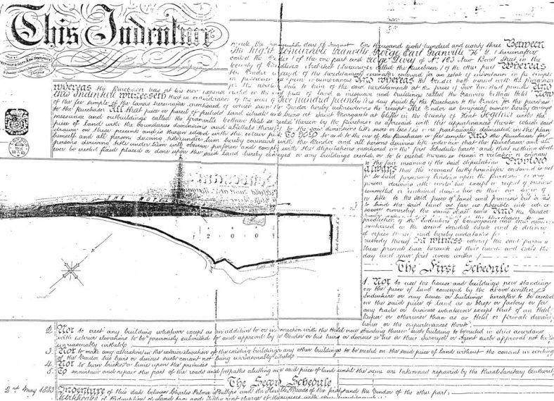 Indenture relating to sale of The Granville Village Hotel, Hotel Road. 1883
