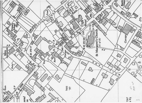 OS Map of St Margaret's at Cliffe. 1950-1960
