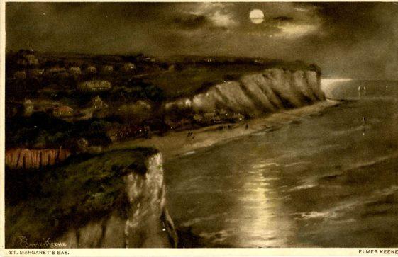 Painting 'St Margaret's Bay Moonlight' by Elmer Keene. postmarked 1934