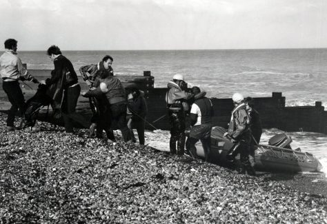Canoeists rescued at Ness Point. 1985