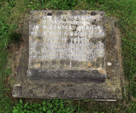 Gravestone of ARCHER John Bentley 1928
