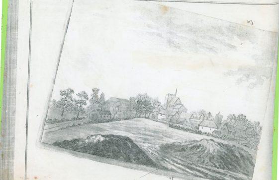 Plate from Archaeologia Nenia Britannica 1782 showing 'Barrows near St Margaret's at Cliffe'