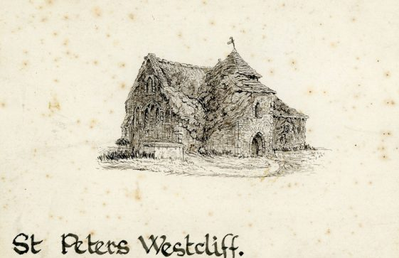 Drawing of St Peter's Church, Westcliffe by Mr Bough. Undated