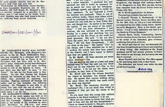 WW1 News Items including deaths of local men and arrest of a lady artist. 1914-1915