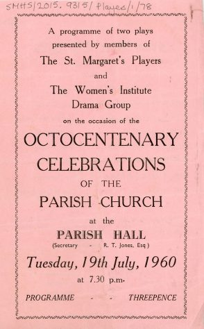 Programme of plays by WI Drama Group for the Octocentenary Celebrations of the Parish Church. 1960