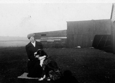 Annie Sharpe at Bockhill with a dog