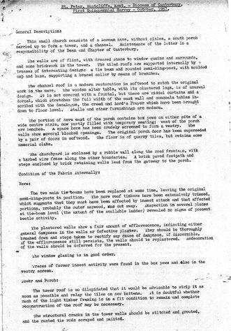 First Quinquennial Survey of St Peter's Church Westcliffe. 1957