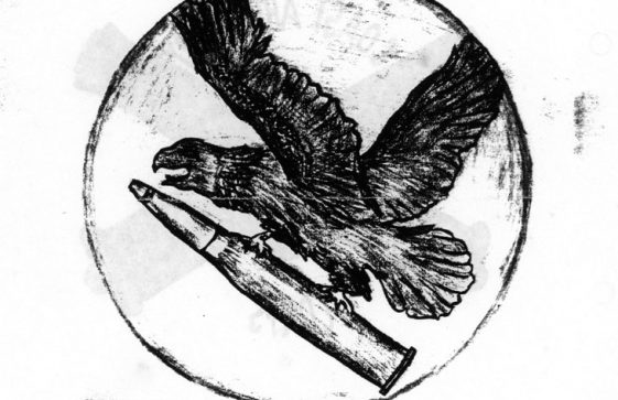 Sketches of two emblems of the 127th AAA Gun Batallion