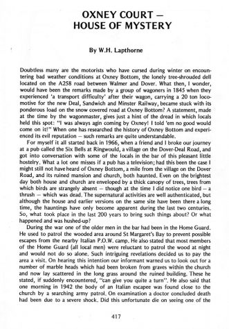 'Oxney Court a House of Mystery' an article from 'Bygone Kent' vol 4 July 1983