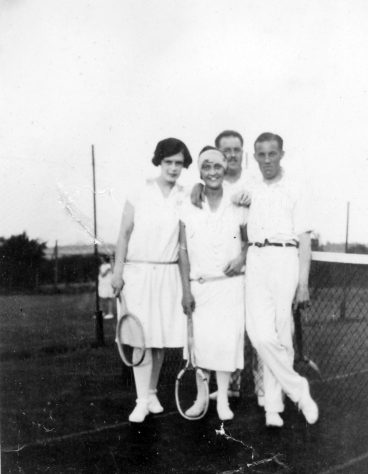 Denoon Family and friends on the Cliffe Hotel Tennis Courts, Chapel Lane. 1920s
