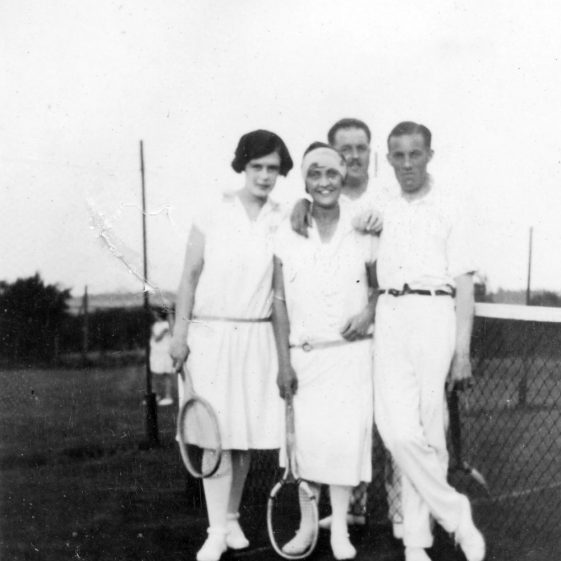 Denoon Family and friends on the Cliffe Hotel Tennis Courts. 1920s