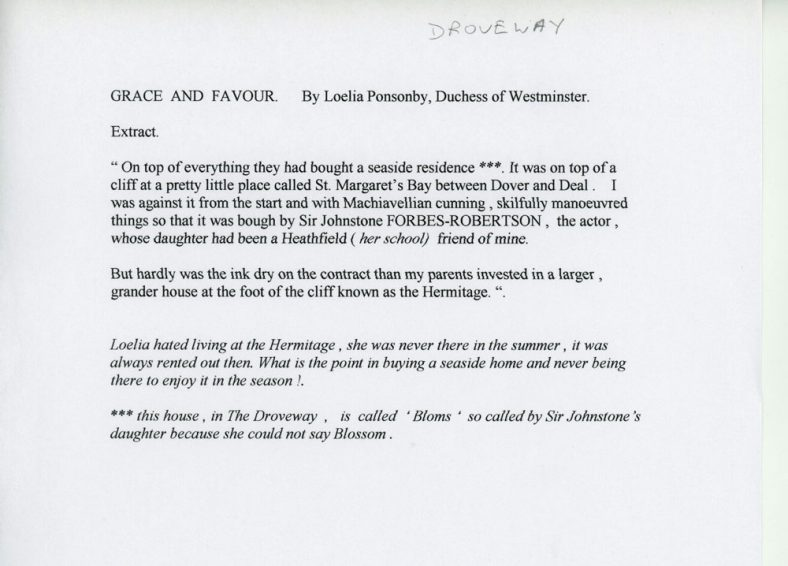 Extract from 'Grace and Favour' by the Duchess of Westminster, Loelia Ponsonby