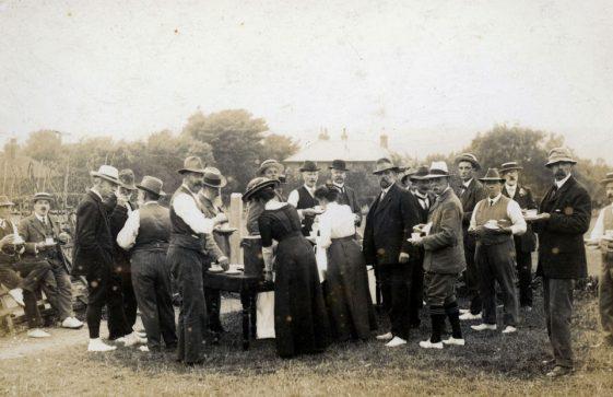 Break for tea at St Margaret's Bowls Club. c1914