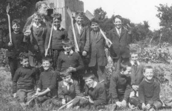 Boy's gardening class with Mr Hall. National School, Kingsdown Road. c1920