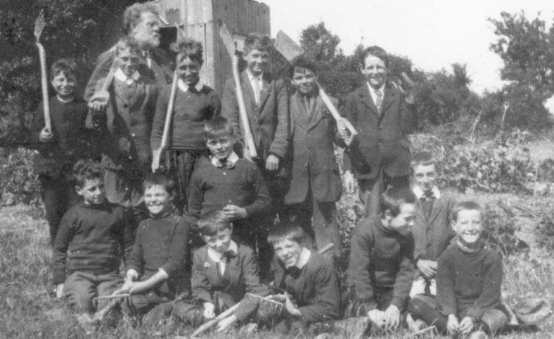 Boy's gardening class with Mr Hall. National School, Kingsdown Road. c1920