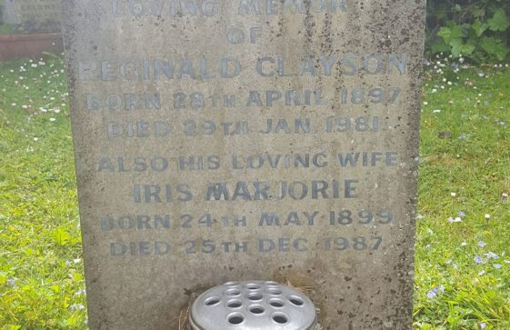 Gravestone of CLAYSON Reginald 1981; CLAYSON Iris Marjorie 1987