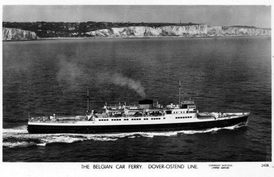 Belgian car ferry off St Margaret's. 1950s
