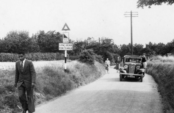 Returning from the beach up Bay Hill. c1946.