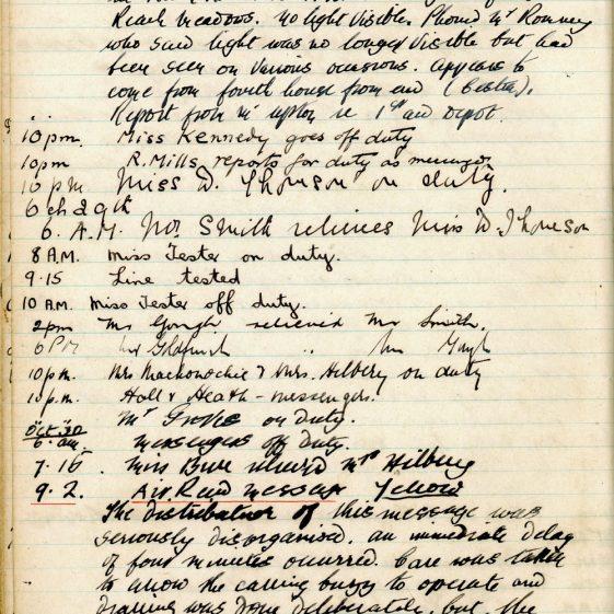 St Margaret's ARP (Air Raid Precautions) Log. Volume 1. 1 September 1939 - 24 July 1940. Pages 21-30
