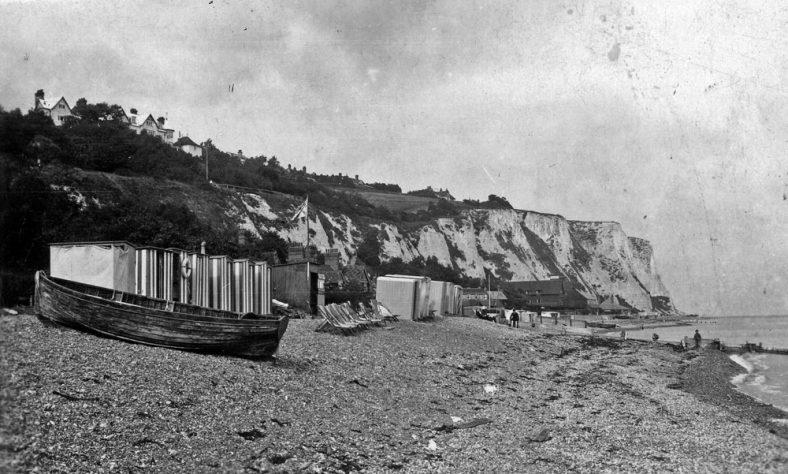 Boats on St Margaret's Bay beach.