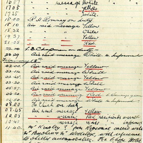 St Margaret's ARP (Air Raid Precautions) Log. Volume 3. 2 November 1940 - 17 February 1941. Pages 137-141