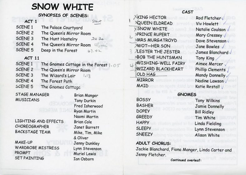 Programme of St Margaret's Players pantomime of 'Snow White'. 2001.