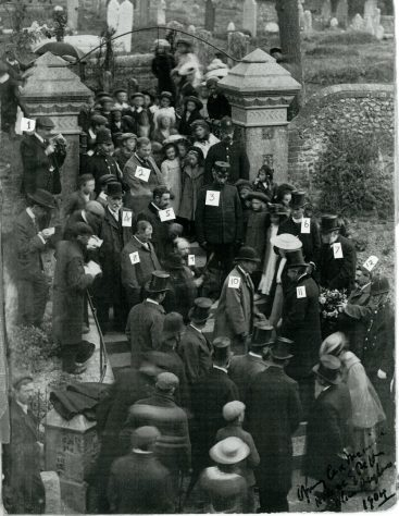 Address and Memorial Service for Rev. F Case on the steps of St Margaret's Church. 1904