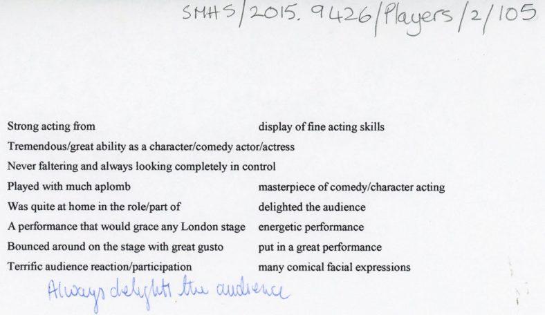 Review phrases for theatre critics