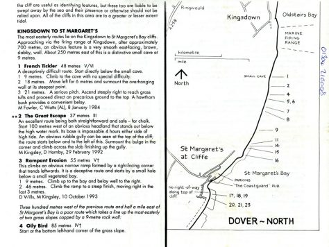 Cliff  climbing routes from Dover to Kingsdown. 1980-1990s