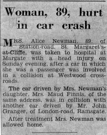 Car accident in which Alice Newman was injured