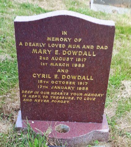 Gravestone of DOWDALL Mary Eunice 1985; DOWDALL Cyril E 1988