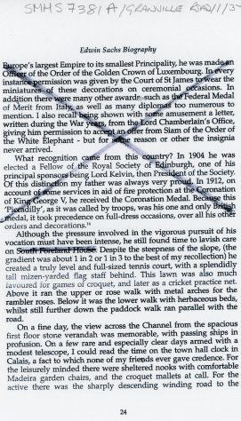 Edwin Sachs, biographical extract of time spent at South Foreland House, Hotel Road