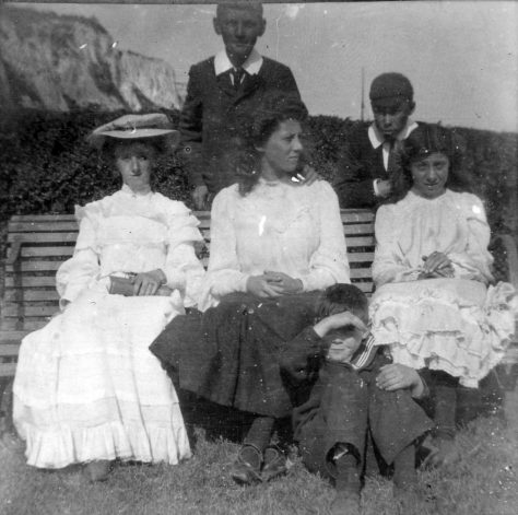 Young people on the beach, 1900 - 1910